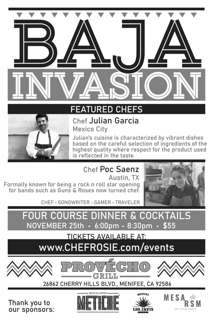 chef rosie, provecho grill, baja invasion dinner, chef julian garcia, chef poc saenz