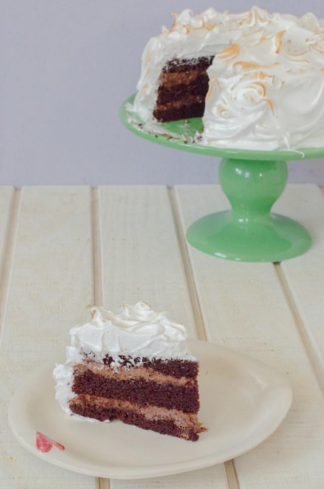 Mocha Mousse Marshmallow Cake from ChefSarahElizabeth.com