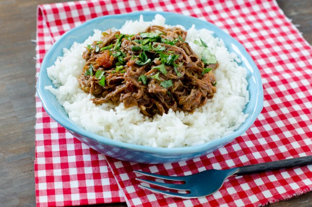 Slow Cooker Ropa Vieja recipe from ChefSarahElizabeth.com