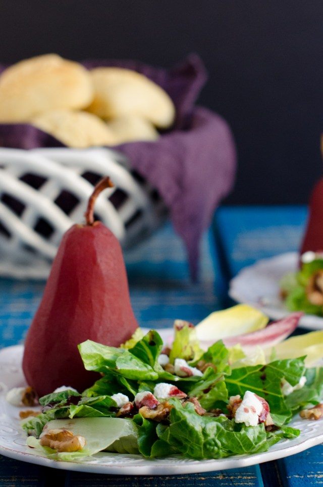 Poached Pear Salad recipe from ChefSarahElizabeth.com