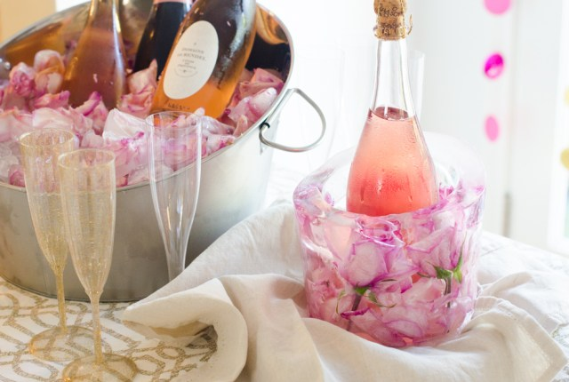 Pink and Gold Rosé Bar from ChefSarahElizabeth.com