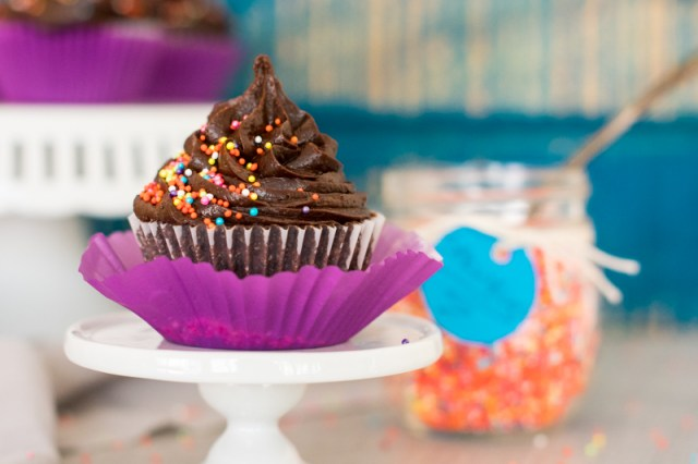 Close Up Chocolate Cupcake with Chocolate Frosting and Rainbow Sprinkles