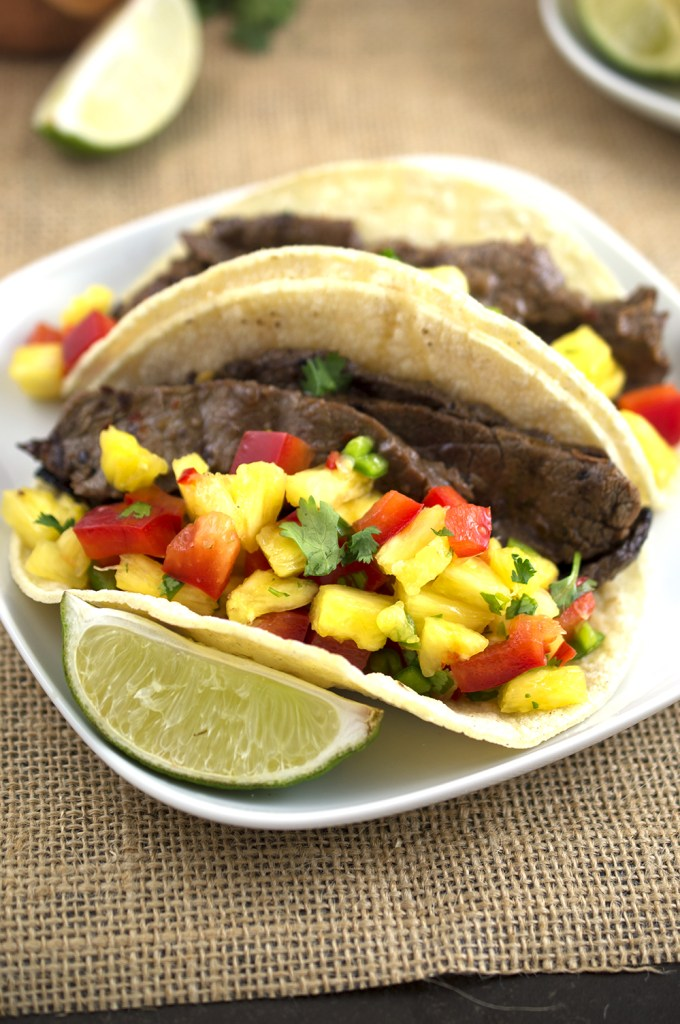 Korean BBQ Tacos with pineapple salsa