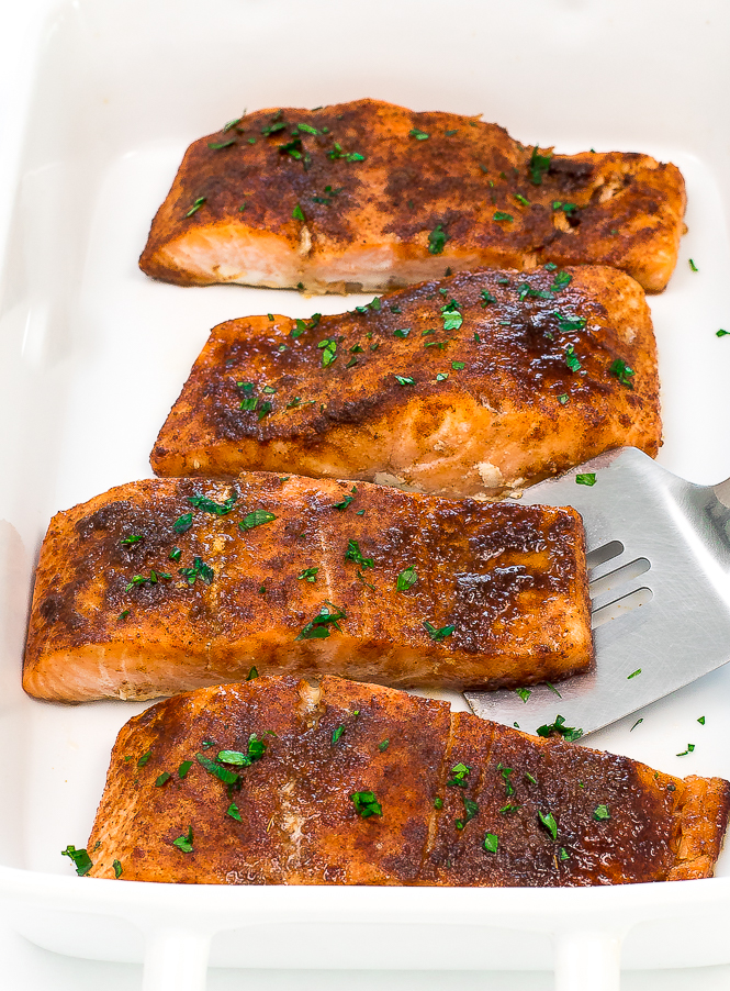 5 Ingredient Brown Sugar Chipotle Salmon | chefsavvy.com