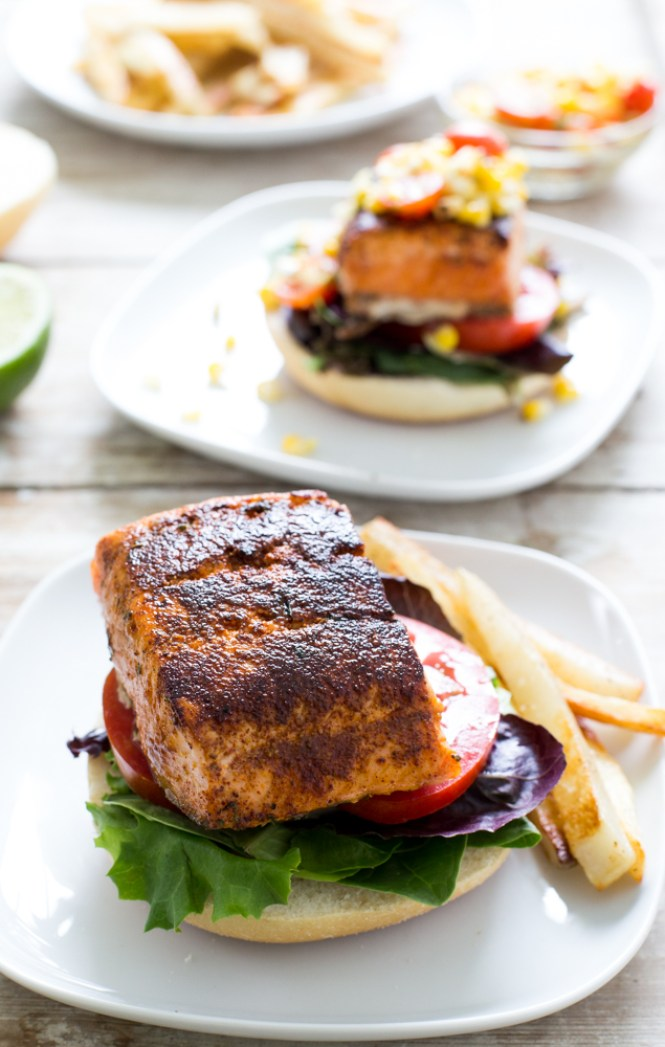 Blackened Salmon Sandwich with Grilled Corn Salsa