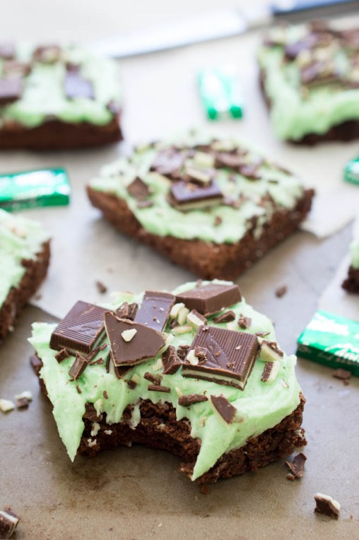 Chocolate Mint Andes Brownies   chefsavvy.com #recipe #dessert #peppermint #chocolate #brownies