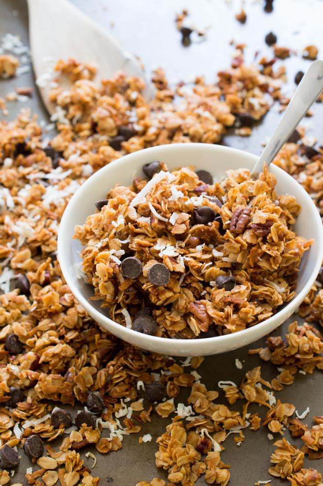 Coconut Pecan Chocolate Chip Granola | chefsavvy.com #recipe #granola #coconut #snack