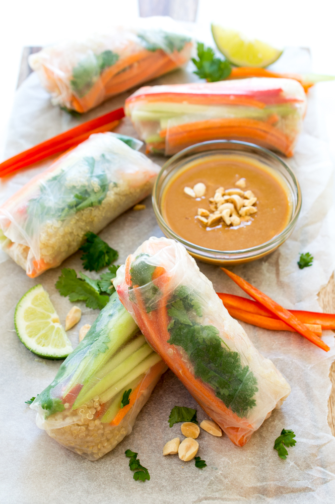 Quinoa Vegetable Spring Rolls | chefsavvy.com