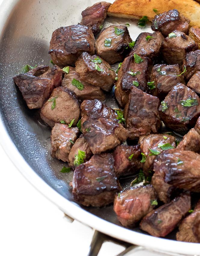 Garlic Herb Butter Steak Bites and Potato Wedges | chefsavvy.com