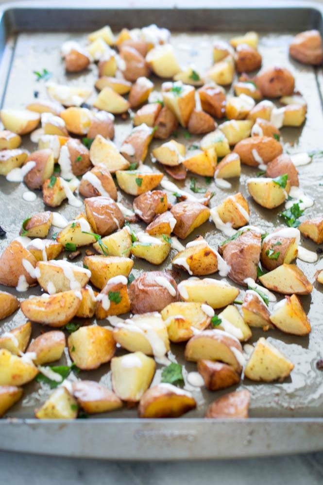 Roasted Potatoes with horseradish aioli | chefsavvy.com