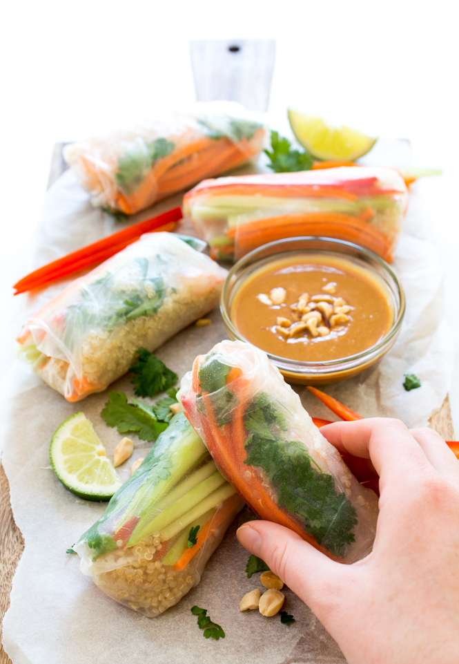 Shrimp Quinoa Vegetable Spring Rolls | chefsavvy.com