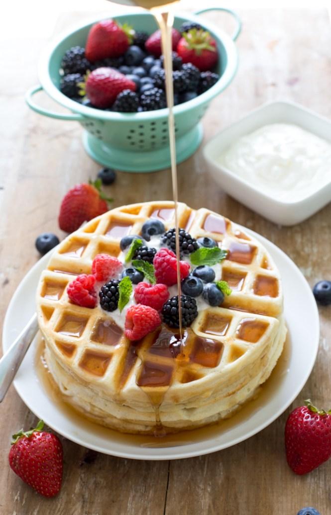 Super Easy Greek Yogurt Waffles