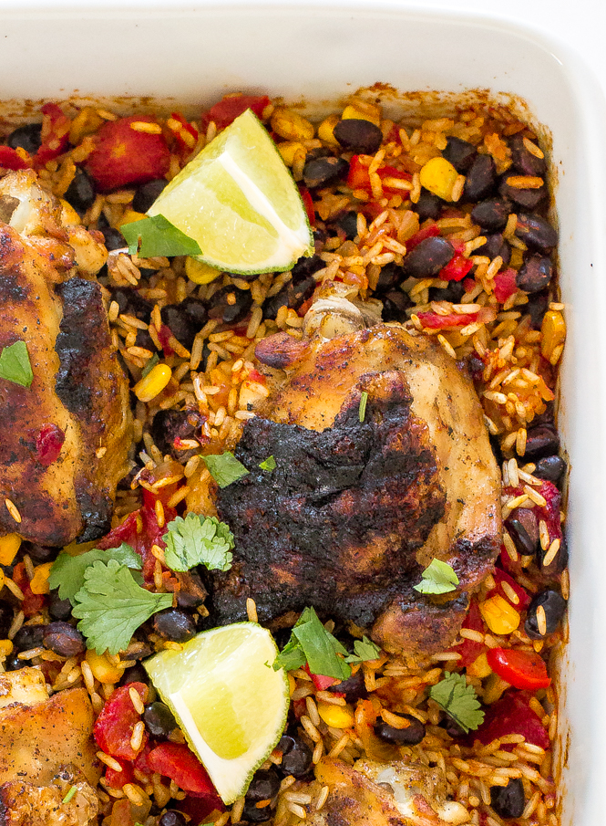 One Pan Mexican Chicken and Rice Bake