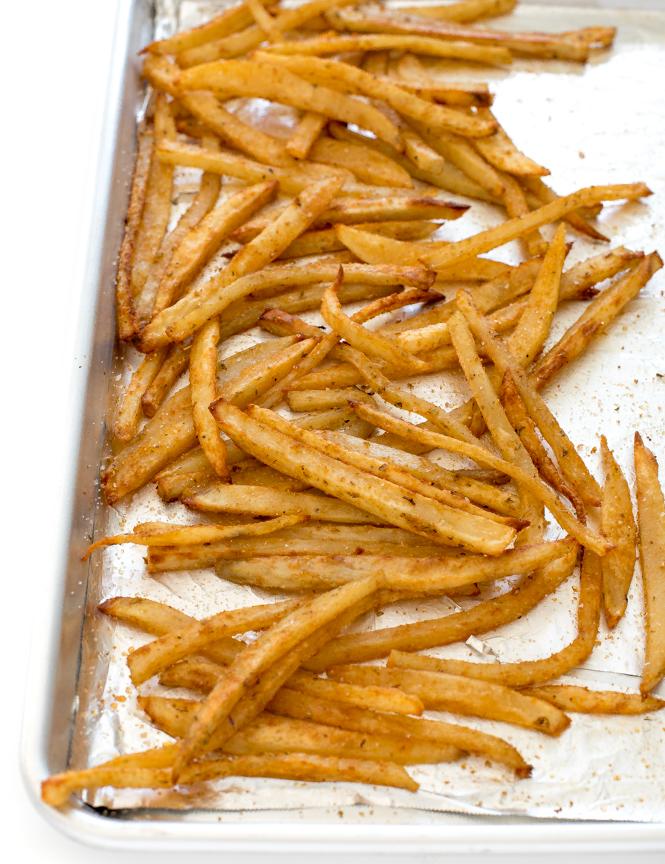 Crispy French Fries on baking sheet | chefsavvy.com