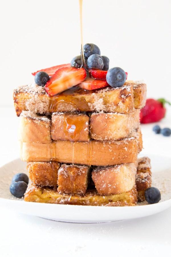 Cinnamon Sugar French Toast Sticks | chefsavvy.com #recipe #breakfast #toast #sticks