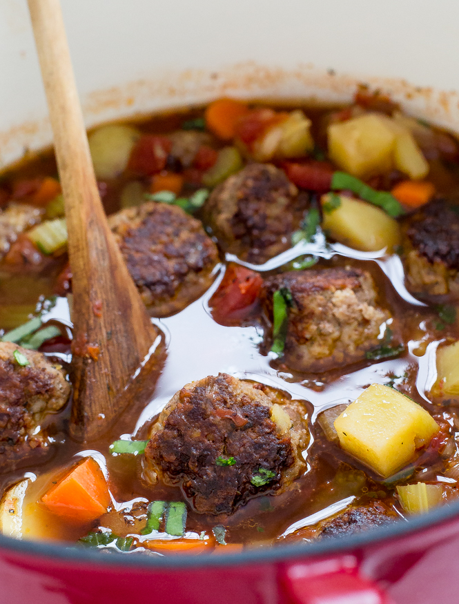 Easy One Pot Italian Meatball Soup | chefsavvy.com