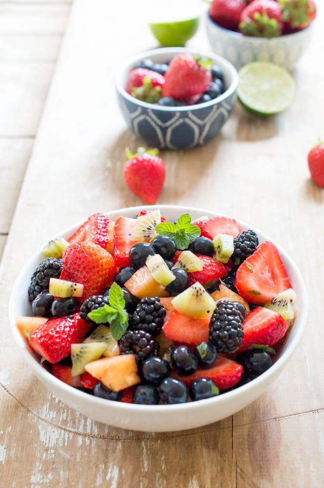 Summer Fruit Salad recipe with Lime, Mint and Honey | chefsavvy.com #recipe #fruit #healthy #salad