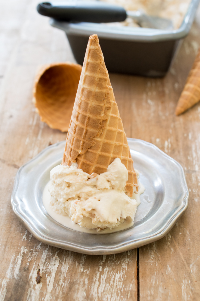 Butter Brickle Ice cream made with Homemade Toffee | chefsavvy.com #recipe #icecream #dessert #toffee