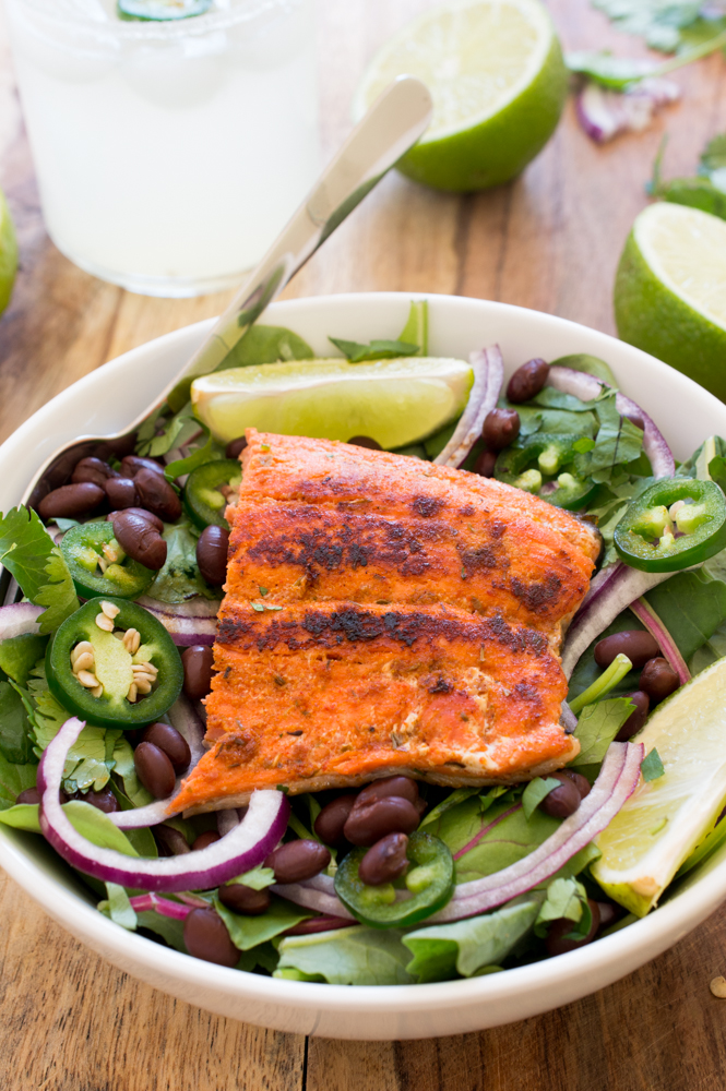 Mexican Salmon Salad | chefsavvy.com #recipe #salad #salmon #seafood #Mexican