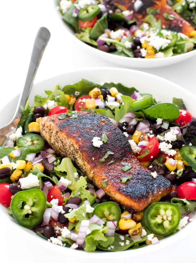 How To Make Mexican Salmon Salad with a Creamy Cilantro Lime Dressing | chefsavvy.com