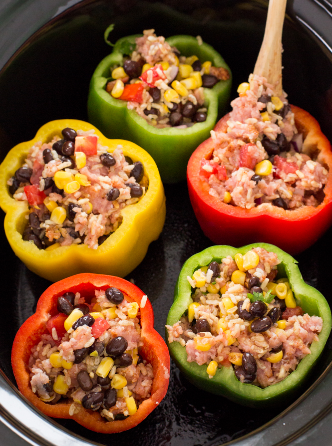 Adding filling to stuffed peppers | chefsavvy.com