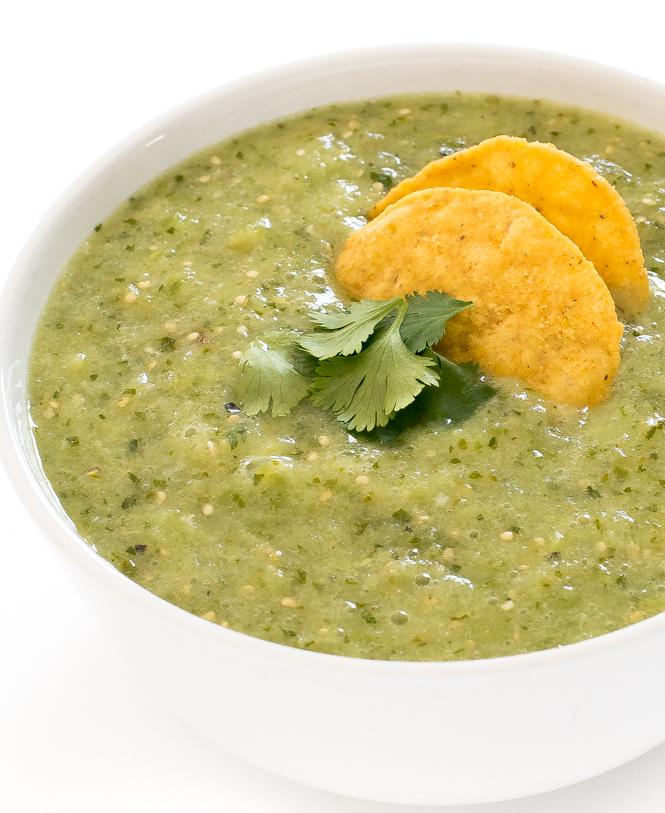Salsa verde in white bowl