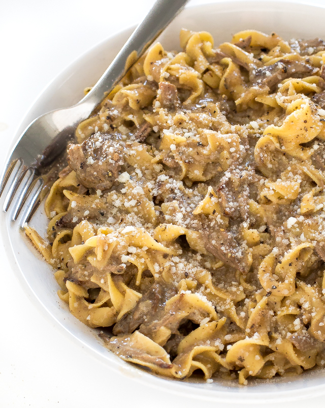 Easy Crockpot Beef and Noodles | chefsavvy.com