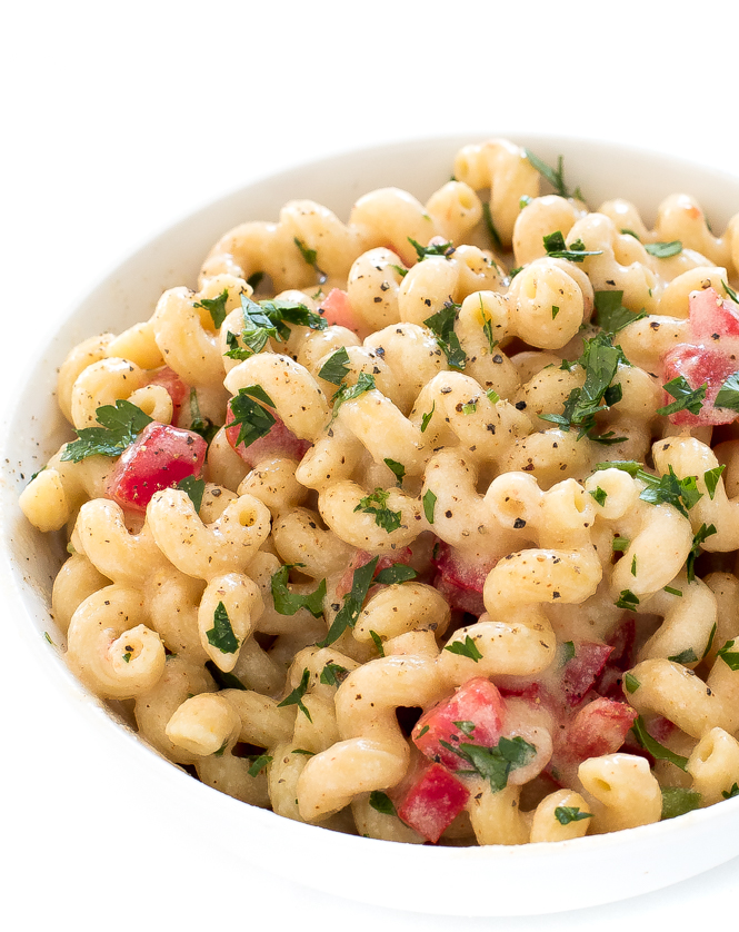 Spicy Pepper Jack Mac and Cheese in white bowl