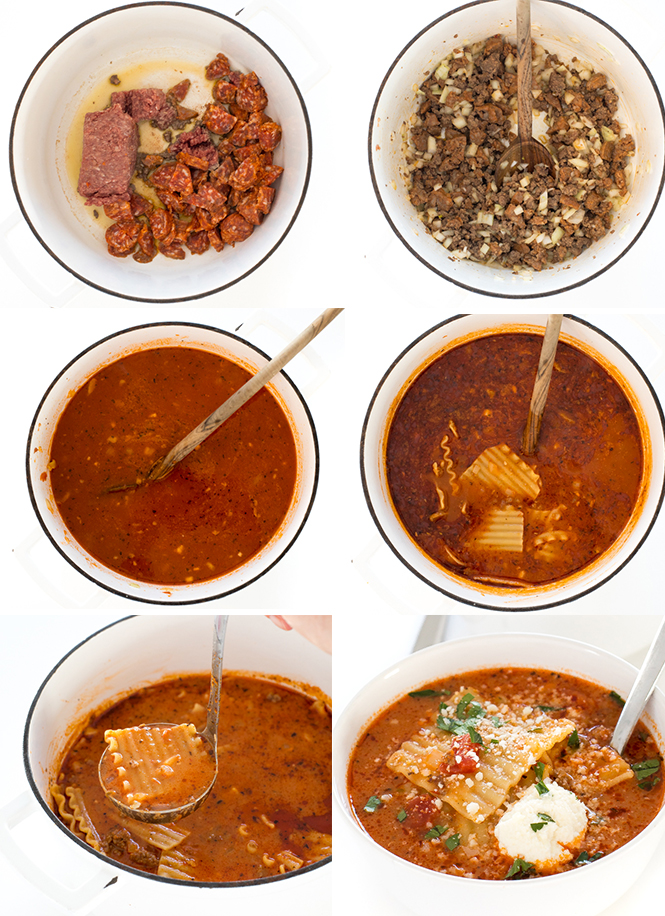step by step photos showing how to make lasagna soup