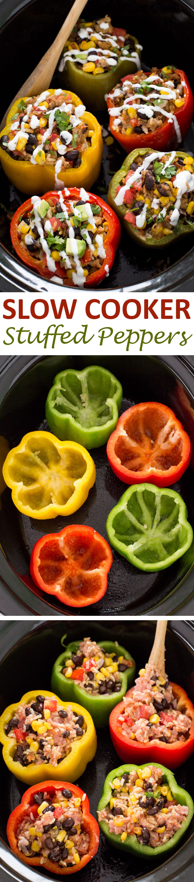 Super Easy Mexican Slow Cooke Stuffed Peppers | chefsavvy.com #recipe #mexican #slow #cooker #stuffed #peppers