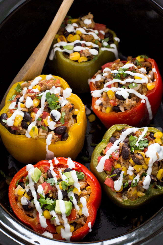 Slow Cooker Stuffed Peppers | chefsavvy.com