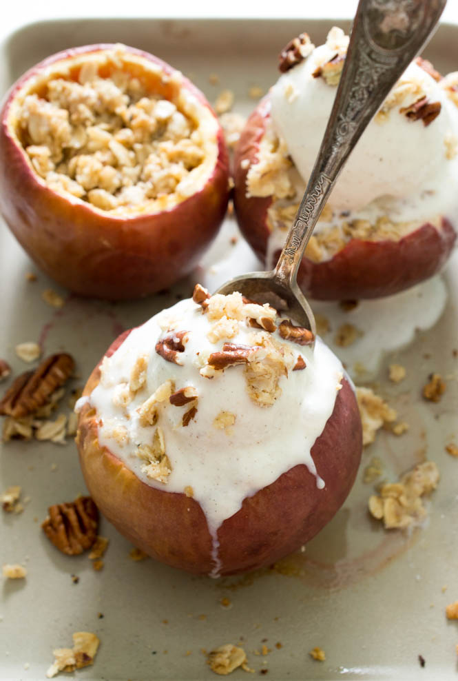 Stuffed Baked Apple Crisp | chefsavvy.com #recipe #dessert #baked #apple