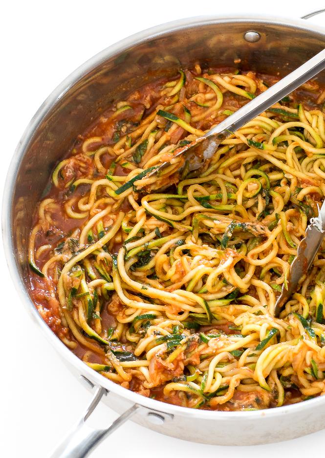 Zucchini Noodles in Homemade Marinara | chefsavvy.com