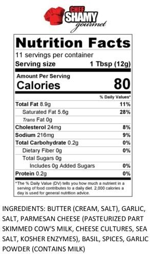 Garlic Butter Nutrition Info