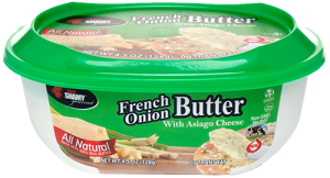 Delicious French onion butter with Asiago goes great on bagels and bread.