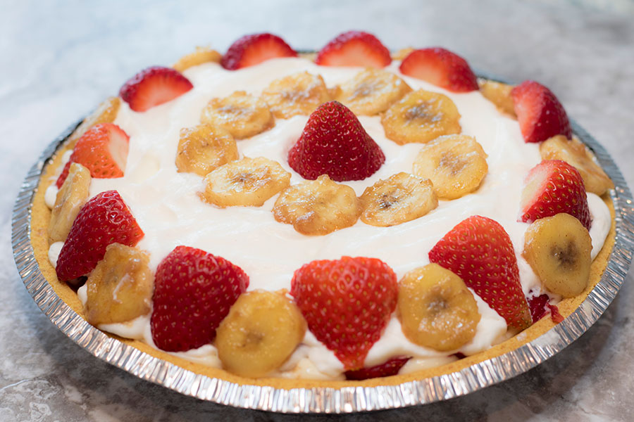 Enjoy a cool summer treat -- Strawberry Banana Cream Pie.