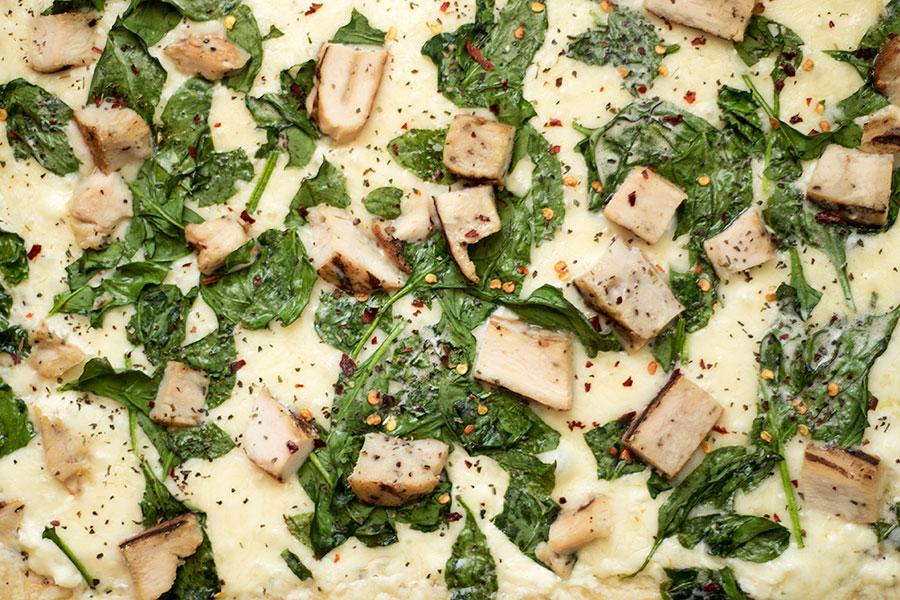 Garlic, Chicken, and Spinach White Pizza