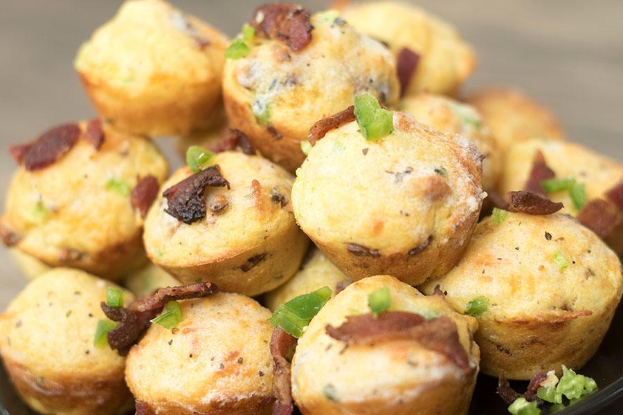 Garlic Bacon Cheddar Jalapeno Cornbread Muffins