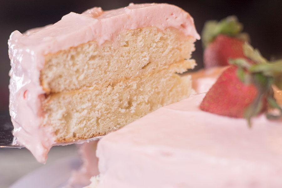 Strawberry Buttercream Almond Cake