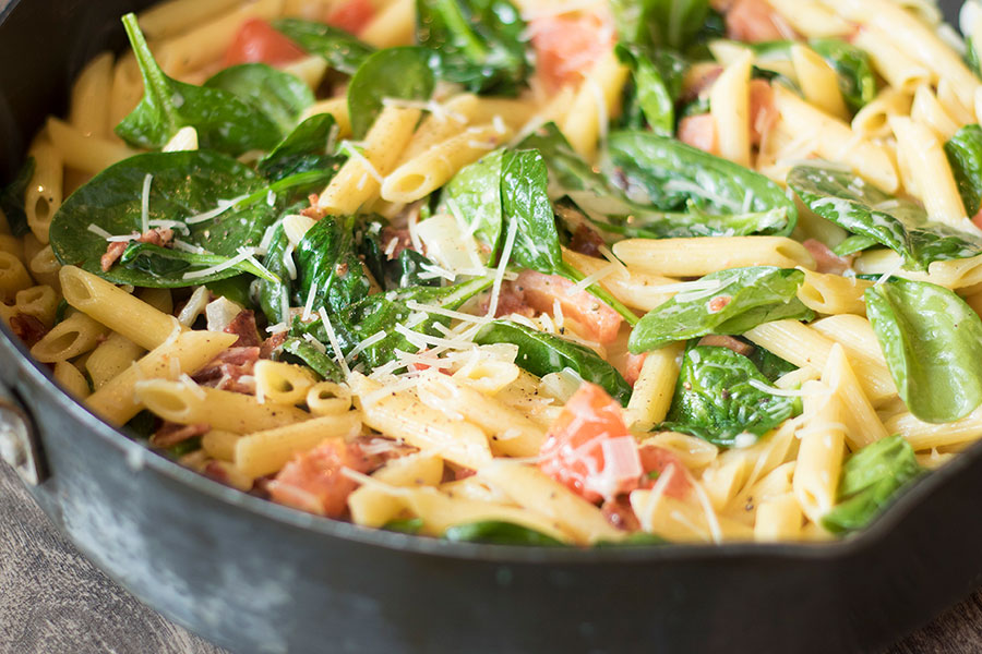 Bacon Spinach Tomato Penne Pasta with Parmesan