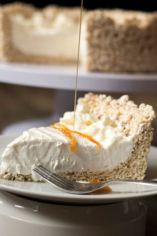 Cinnamon Caramel Rice Krispie Cheesecake