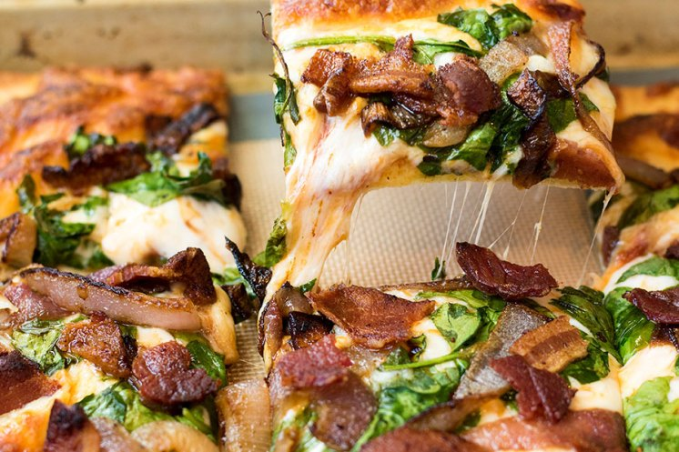 Caramelized Onion Spinach and Bacon Pizza