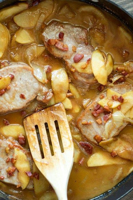 Cinnamon Apple Pork Chops with Pancetta