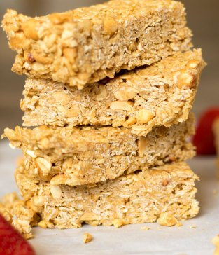 Strawberry Peanut Butter No Bake Granola Bars