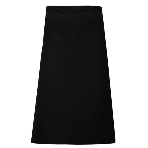 Long waist apron in black
