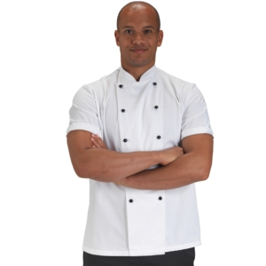 Dennys Short Sleeve Slim Fit Chefs Jacket with removable buttons