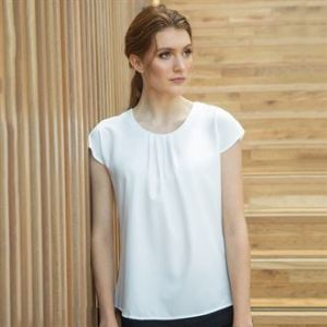 Women's pleat front short sleeve blouse