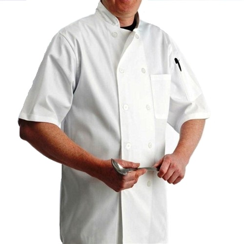 White Chef Jacket with Plastic Buttons