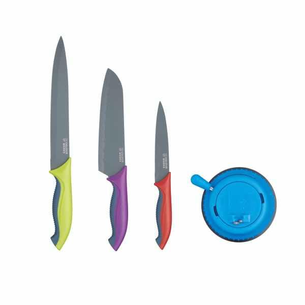 Colourworks Brights Three Piece Knife Set with Sharpener