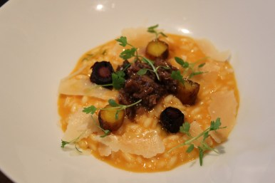 """""""The Great Wall's"""" Carrot Risotto. Best pairing of the night with Vista D'oro Pinot Noir."""